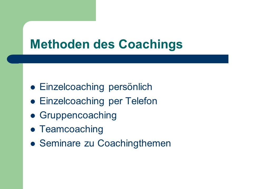 Methoden des Coachings