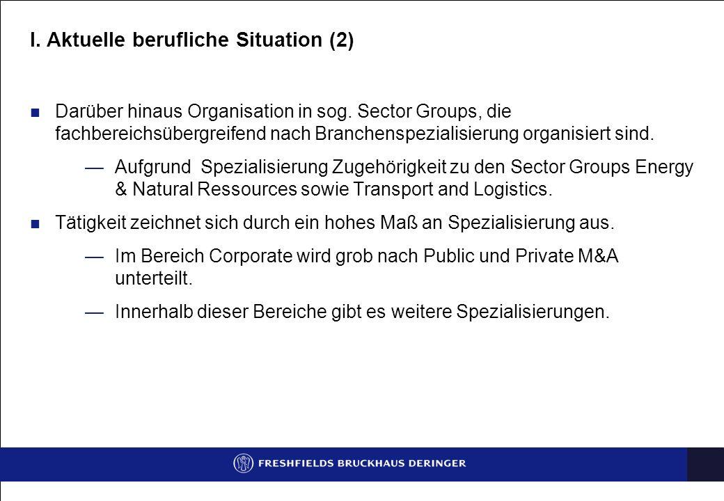 I. Aktuelle berufliche Situation (2)