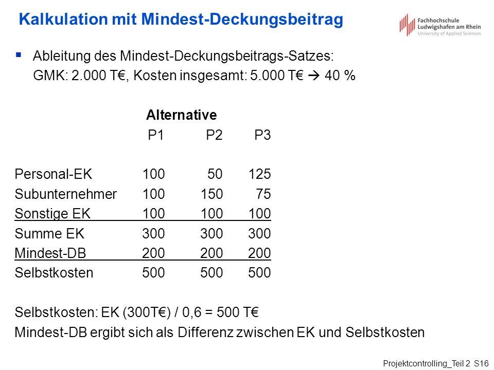 Kalkulation mit Mindest-Deckungsbeitrag