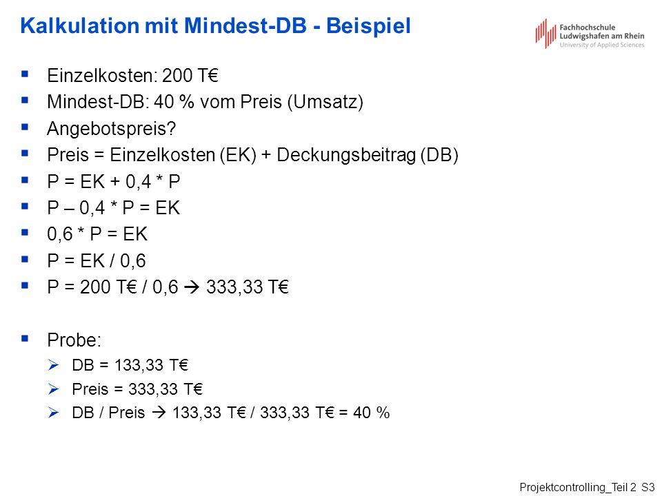 Kalkulation mit Mindest-DB - Beispiel