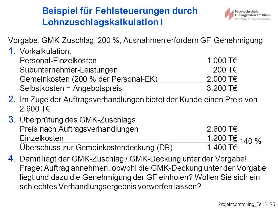 Beispiel für Fehlsteuerungen durch Lohnzuschlagskalkulation I
