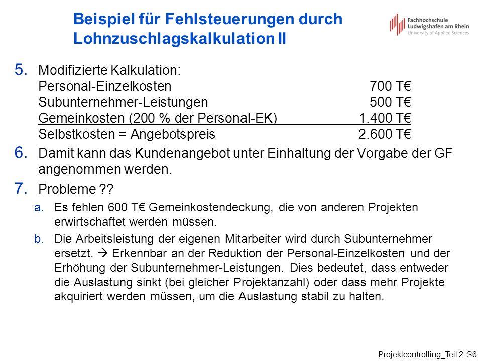 Beispiel für Fehlsteuerungen durch Lohnzuschlagskalkulation II