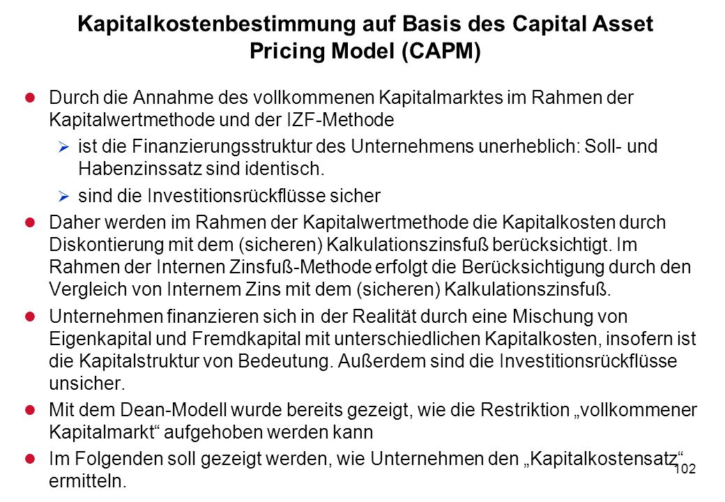 Kapitalkostenbestimmung auf Basis des Capital Asset Pricing Model (CAPM)