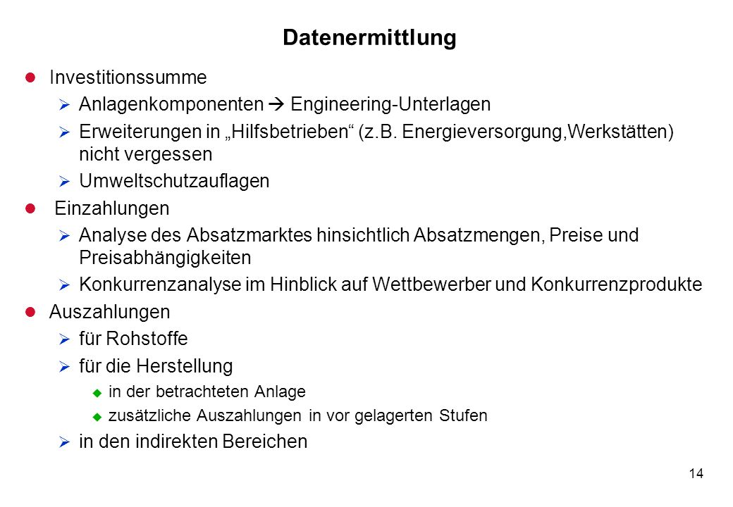 Datenermittlung Investitionssumme