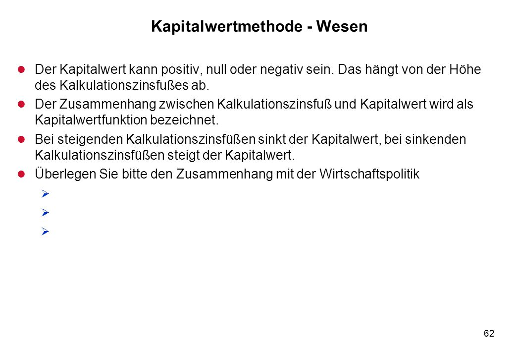 Kapitalwertmethode - Wesen