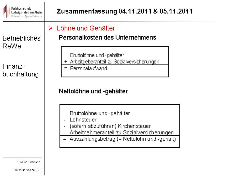 Zusammenfassung 04.11.2011 & 05.11.2011 Löhne und Gehälter