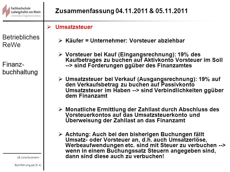 Zusammenfassung 04.11.2011 & 05.11.2011 Finanz-buchhaltung