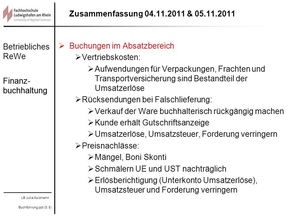 Zusammenfassung 04.11.2011 & 05.11.2011 Buchungen im Absatzbereich. Vertriebskosten: