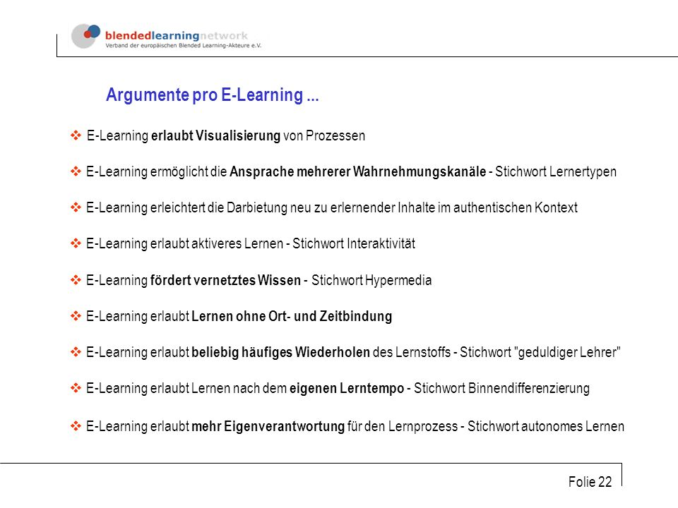 Argumente pro E-Learning ...