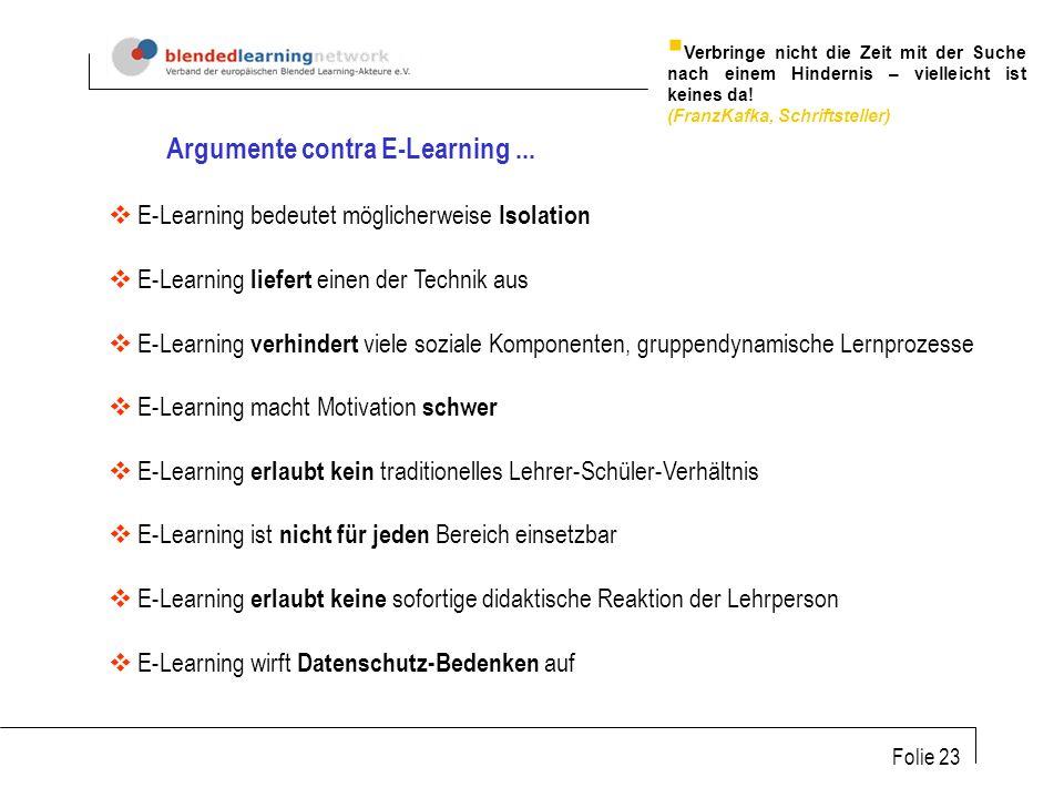 Argumente contra E-Learning ...