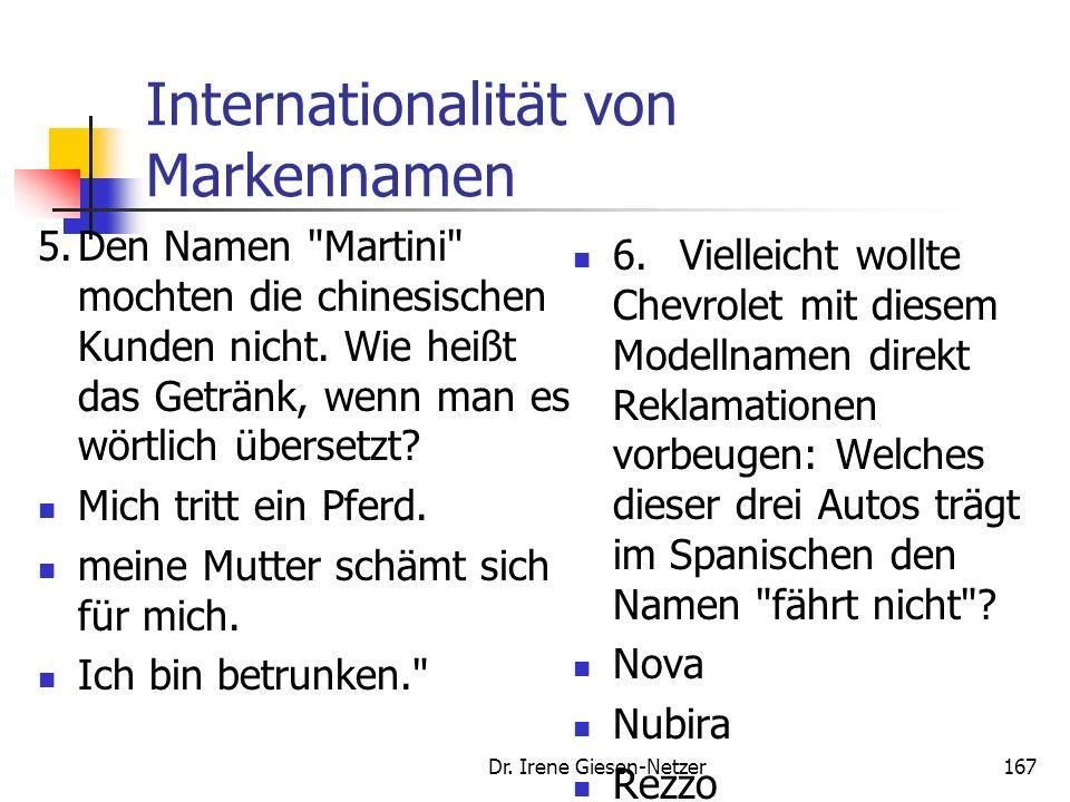 Internationalität von Markennamen