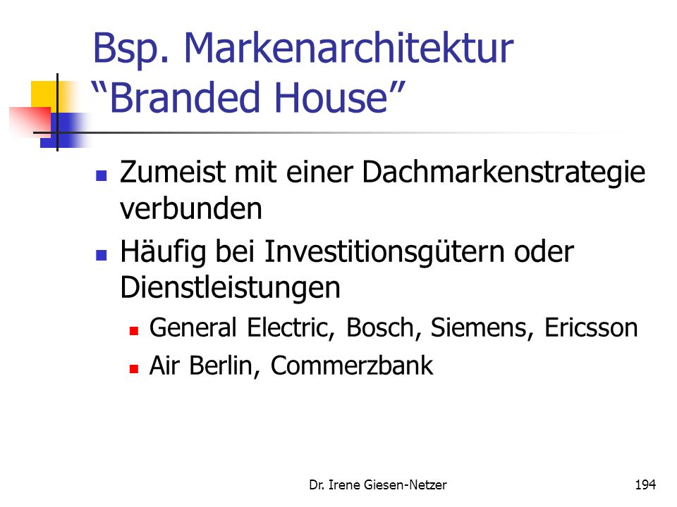 Bsp. Markenarchitektur Branded House