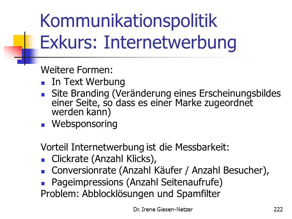 Kommunikationspolitik Exkurs: Internetwerbung