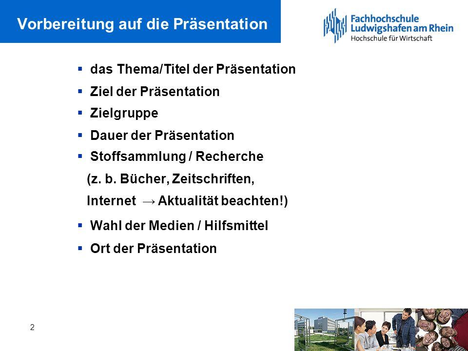 Vorbereitung auf die Präsentation