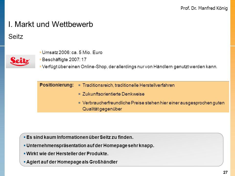 I. Markt und Wettbewerb Seitz Umsatz 2006: ca. 5 Mio. Euro