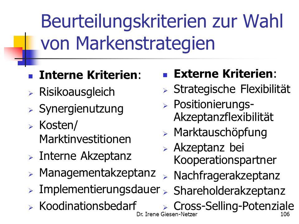 Beurteilungskriterien zur Wahl von Markenstrategien