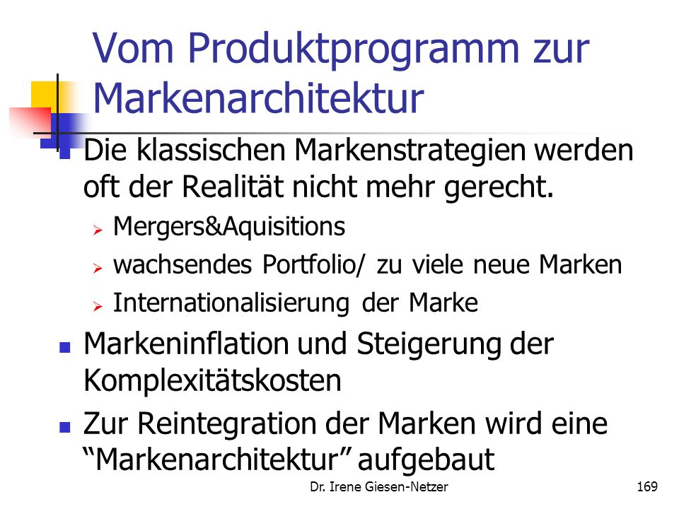 Vom Produktprogramm zur Markenarchitektur
