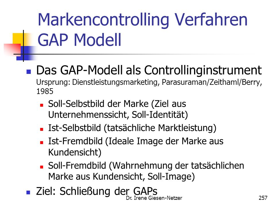 Markencontrolling Verfahren GAP Modell
