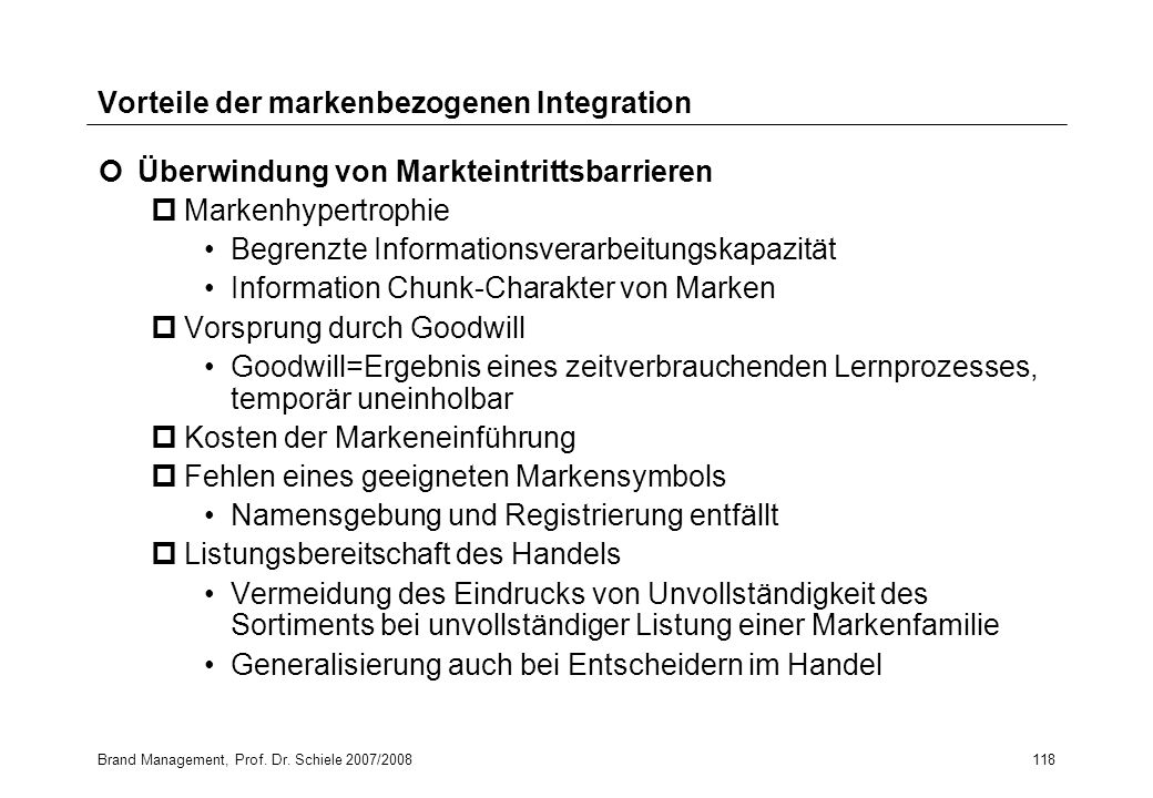 Vorteile der markenbezogenen Integration