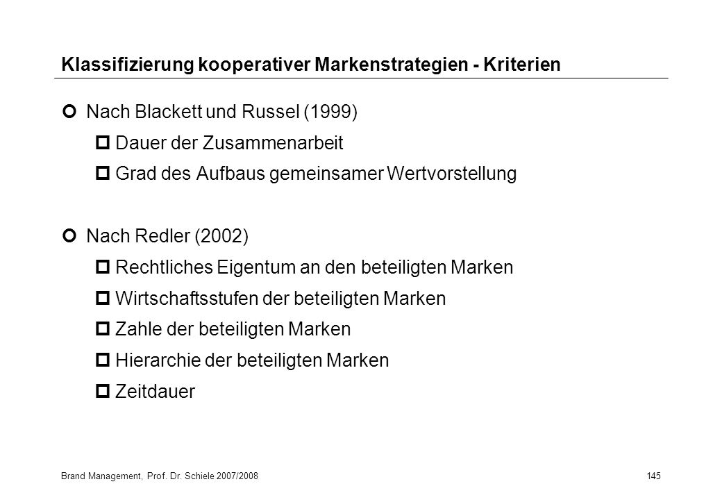 Klassifizierung kooperativer Markenstrategien - Kriterien