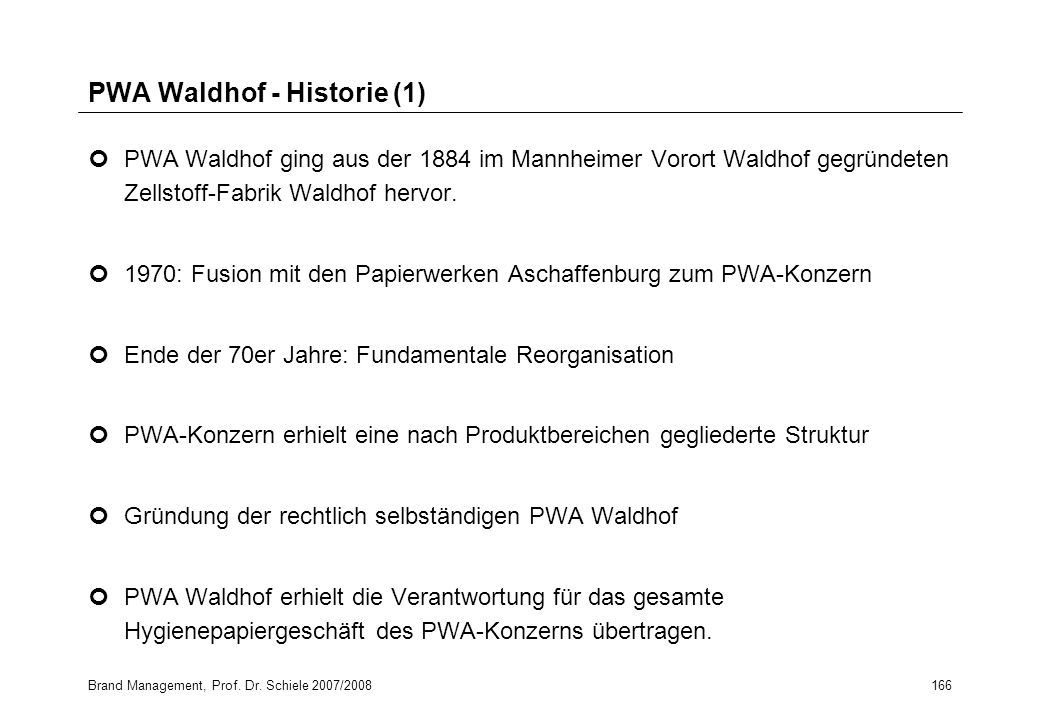 PWA Waldhof - Historie (1)
