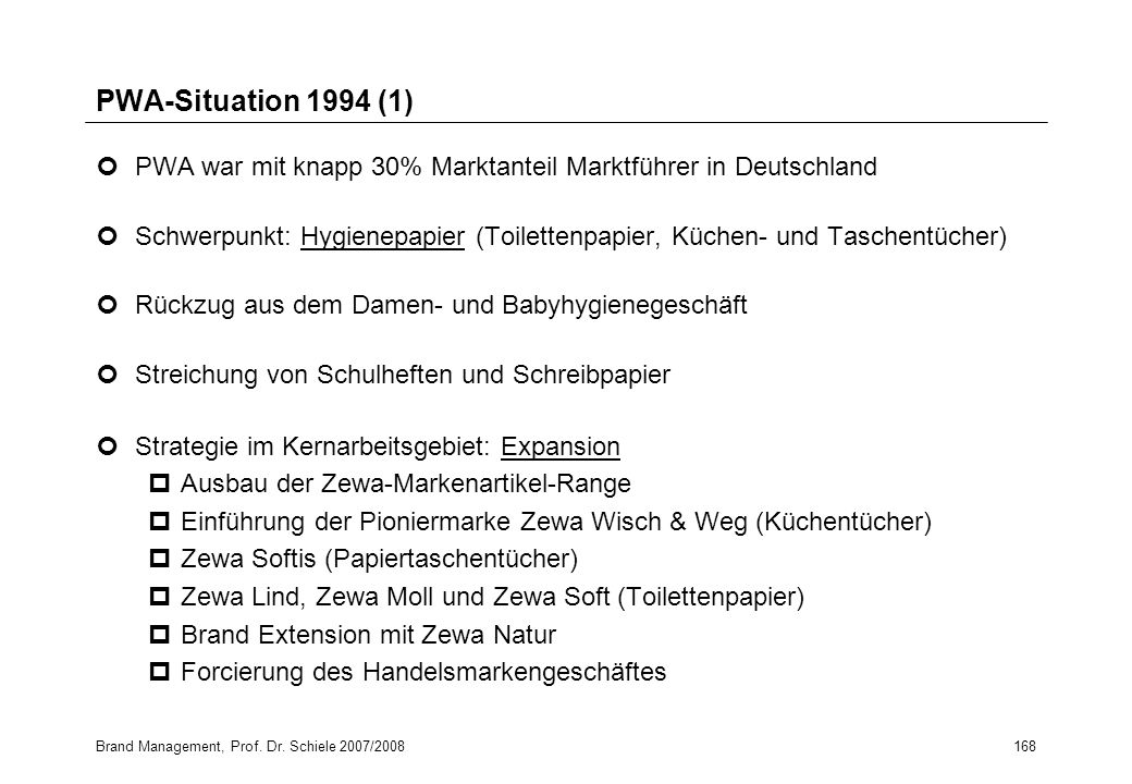 PWA-Situation 1994 (1) PWA war mit knapp 30% Marktanteil Marktführer in Deutschland.