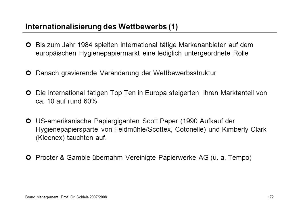 Internationalisierung des Wettbewerbs (1)