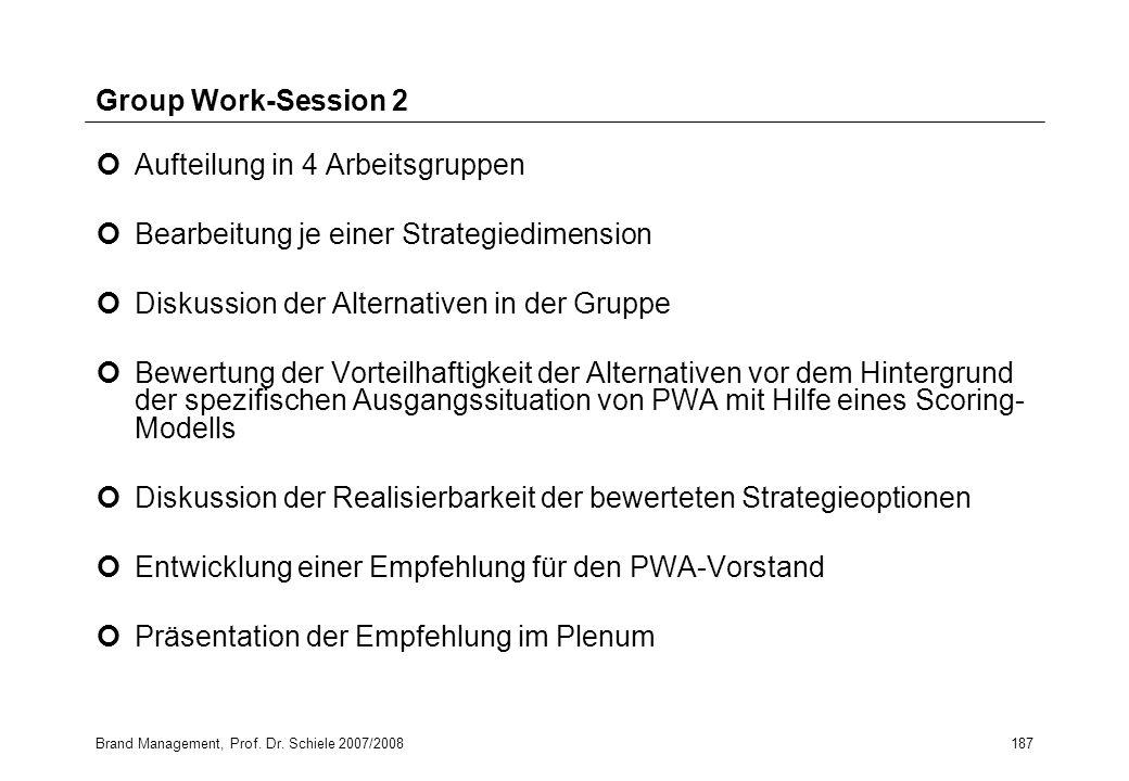 Aufteilung in 4 Arbeitsgruppen Bearbeitung je einer Strategiedimension