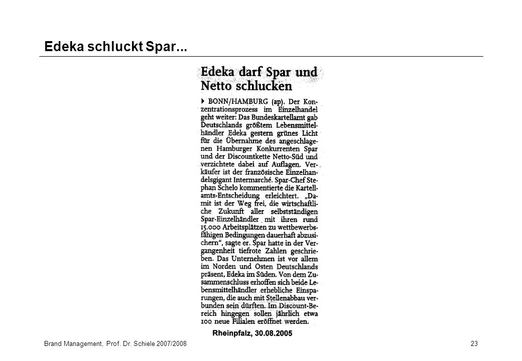 Edeka schluckt Spar... Brand Management, Prof. Dr. Schiele 2007/2008