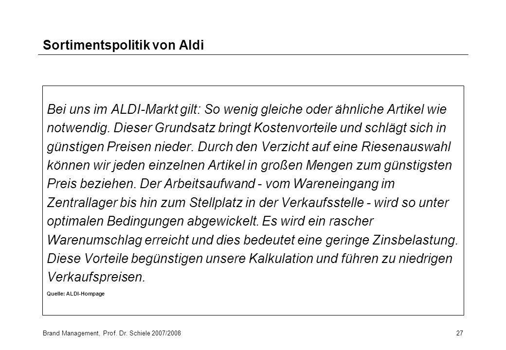 Sortimentspolitik von Aldi