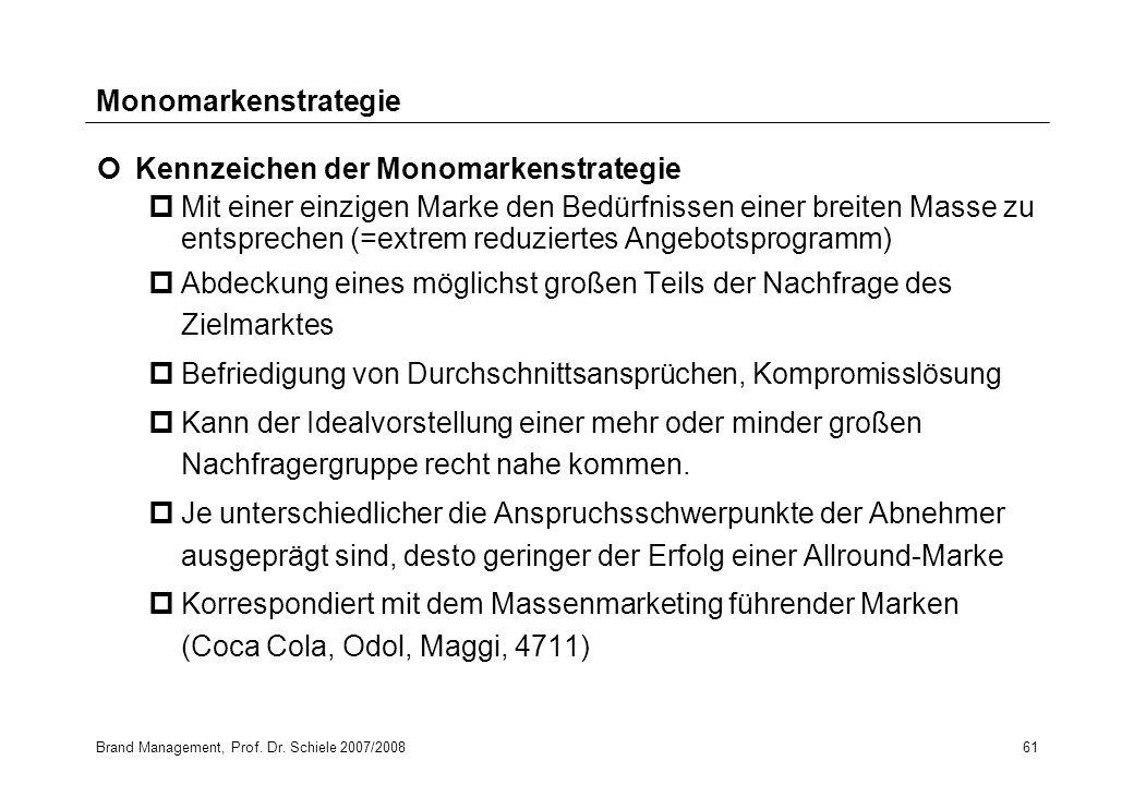 Kennzeichen der Monomarkenstrategie