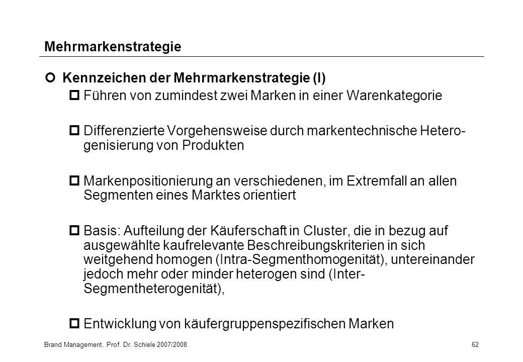 Kennzeichen der Mehrmarkenstrategie (I)