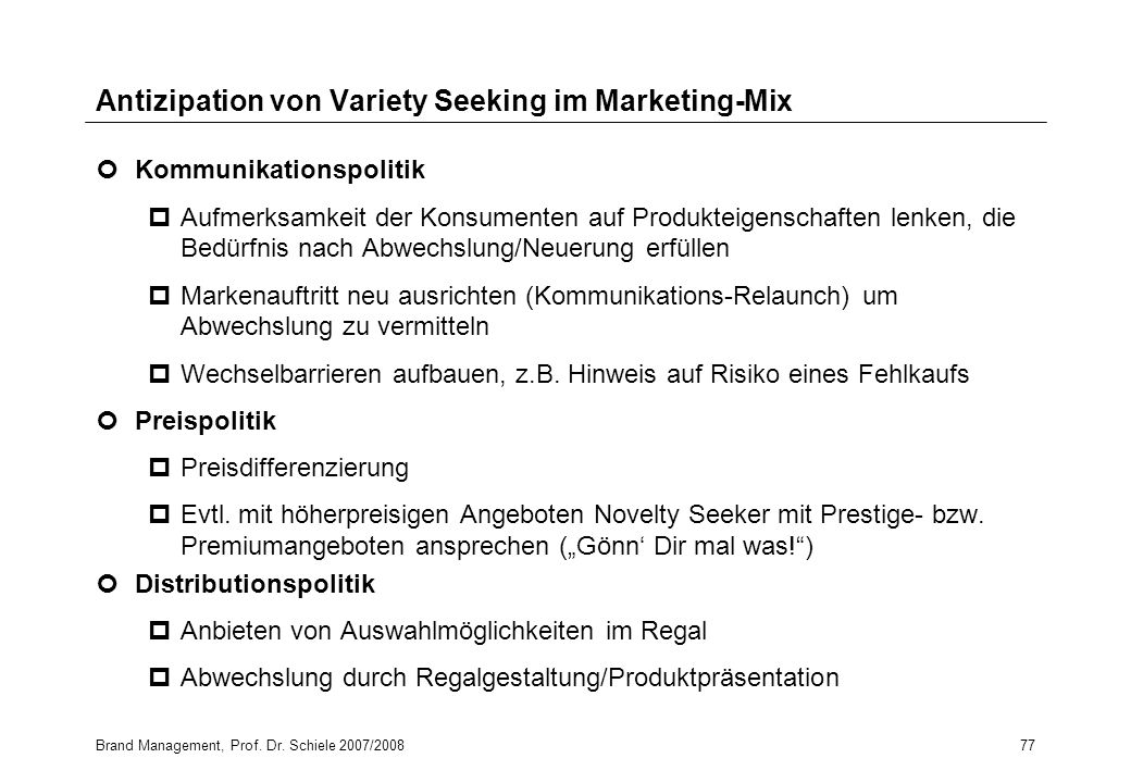 Antizipation von Variety Seeking im Marketing-Mix
