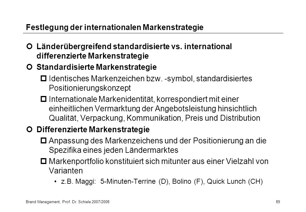 Festlegung der internationalen Markenstrategie
