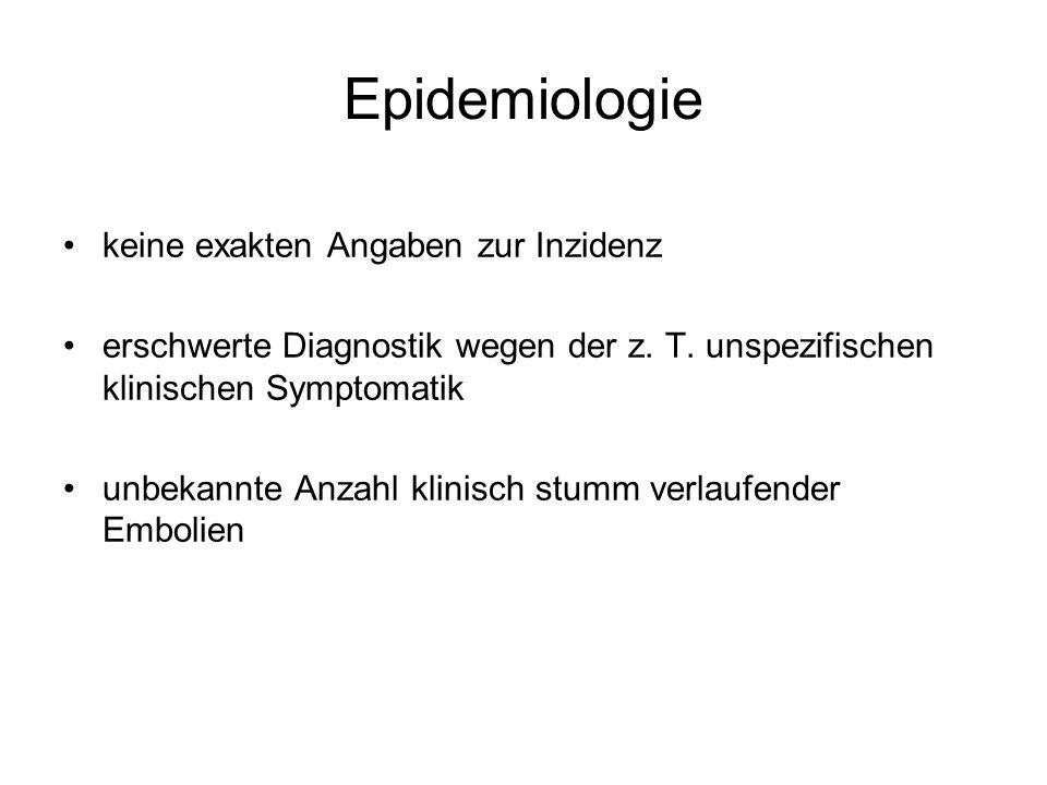 Epidemiologie keine exakten Angaben zur Inzidenz