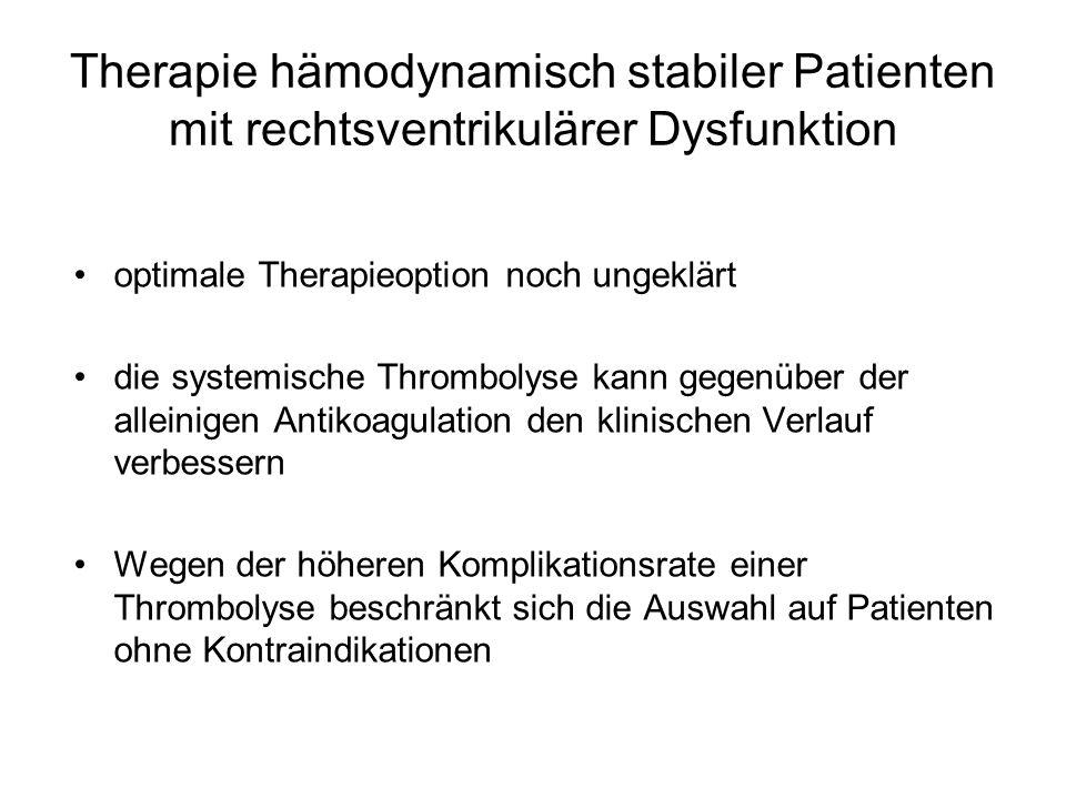 Therapie hämodynamisch stabiler Patienten mit rechtsventrikulärer Dysfunktion
