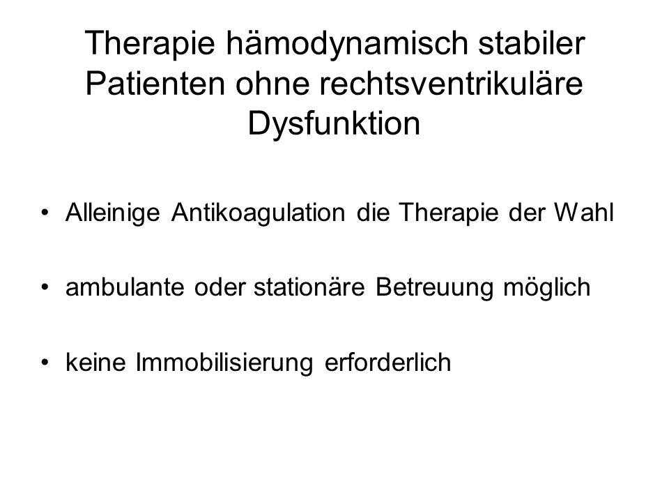 Therapie hämodynamisch stabiler Patienten ohne rechtsventrikuläre Dysfunktion