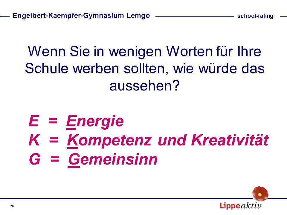 K = Kompetenz und Kreativität G = Gemeinsinn