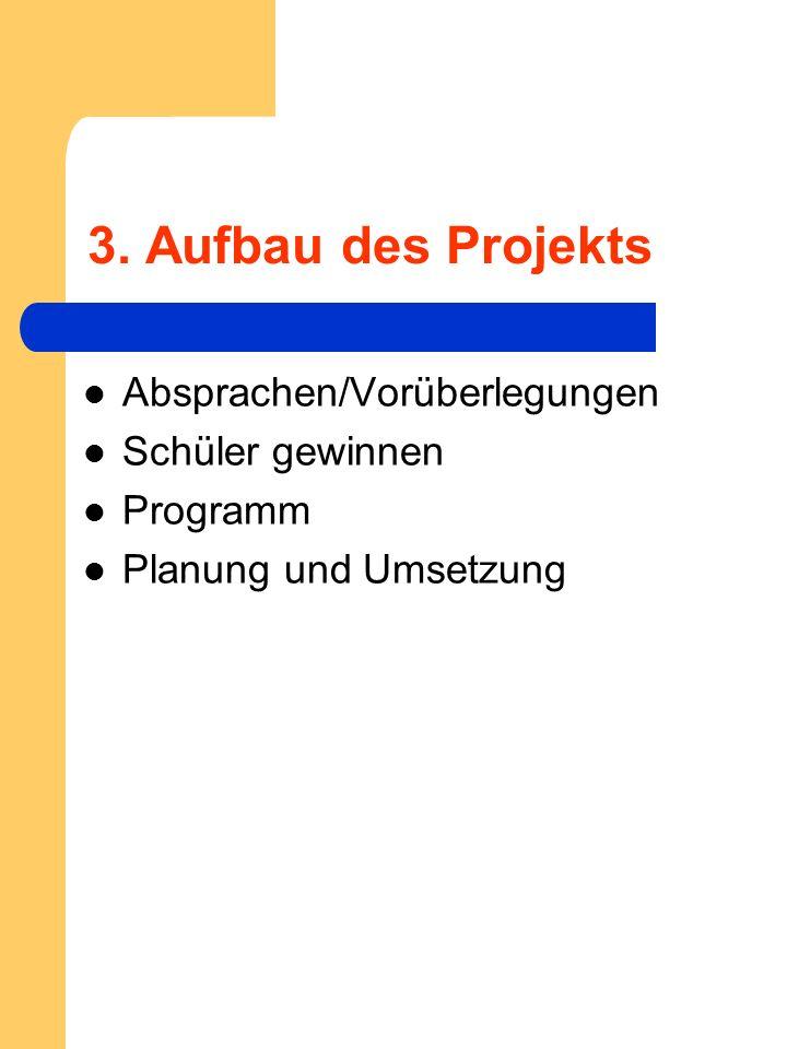 3. Aufbau des Projekts Absprachen/Vorüberlegungen Schüler gewinnen