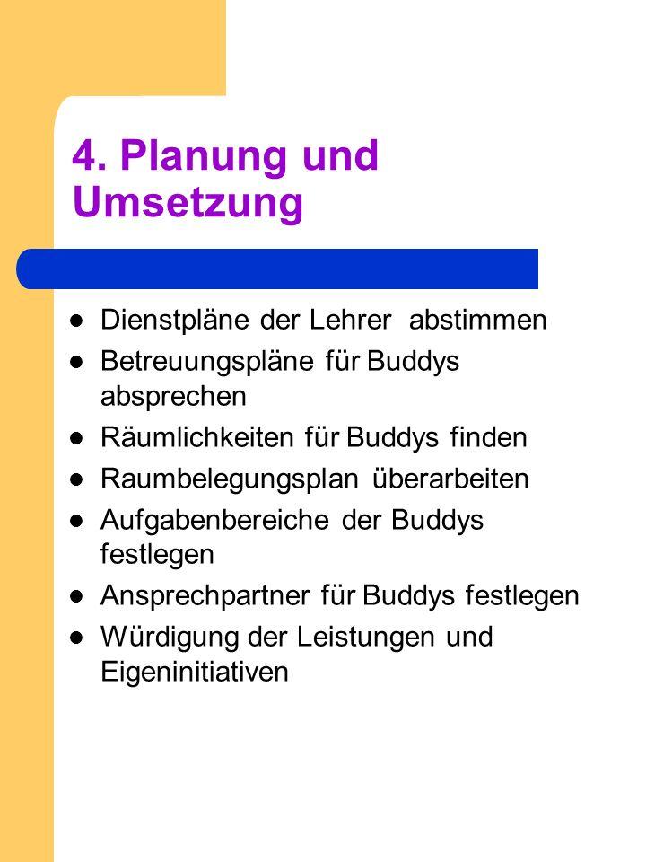 4. Planung und Umsetzung Dienstpläne der Lehrer abstimmen