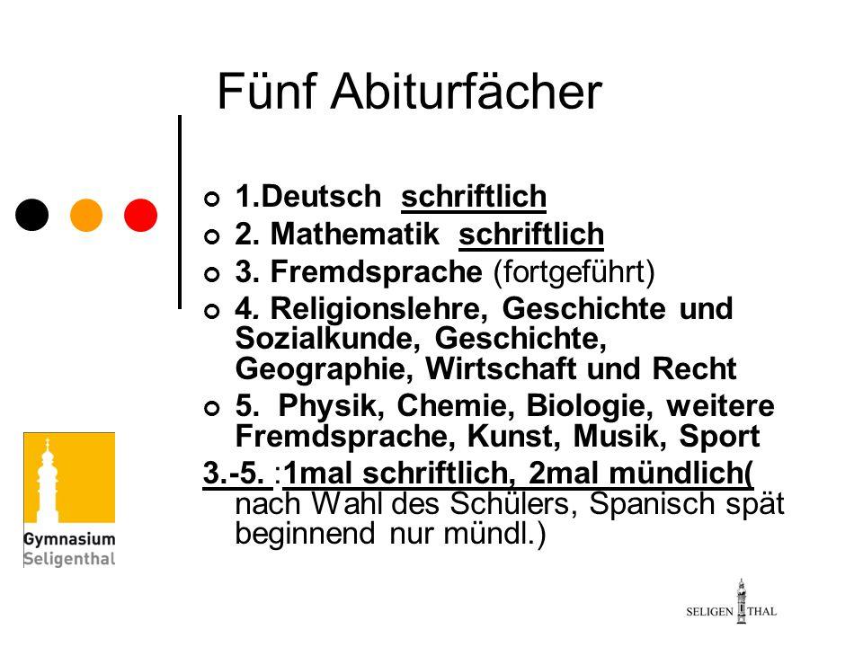 Fünf Abiturfächer 1.Deutsch schriftlich 2. Mathematik schriftlich
