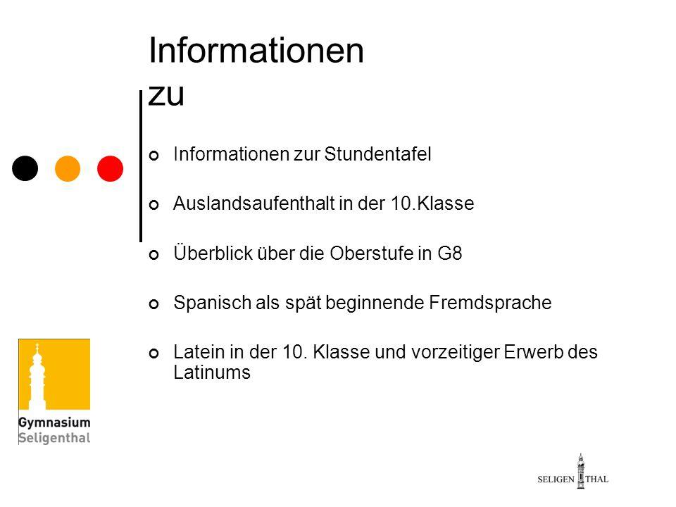 Informationen zu Informationen zur Stundentafel