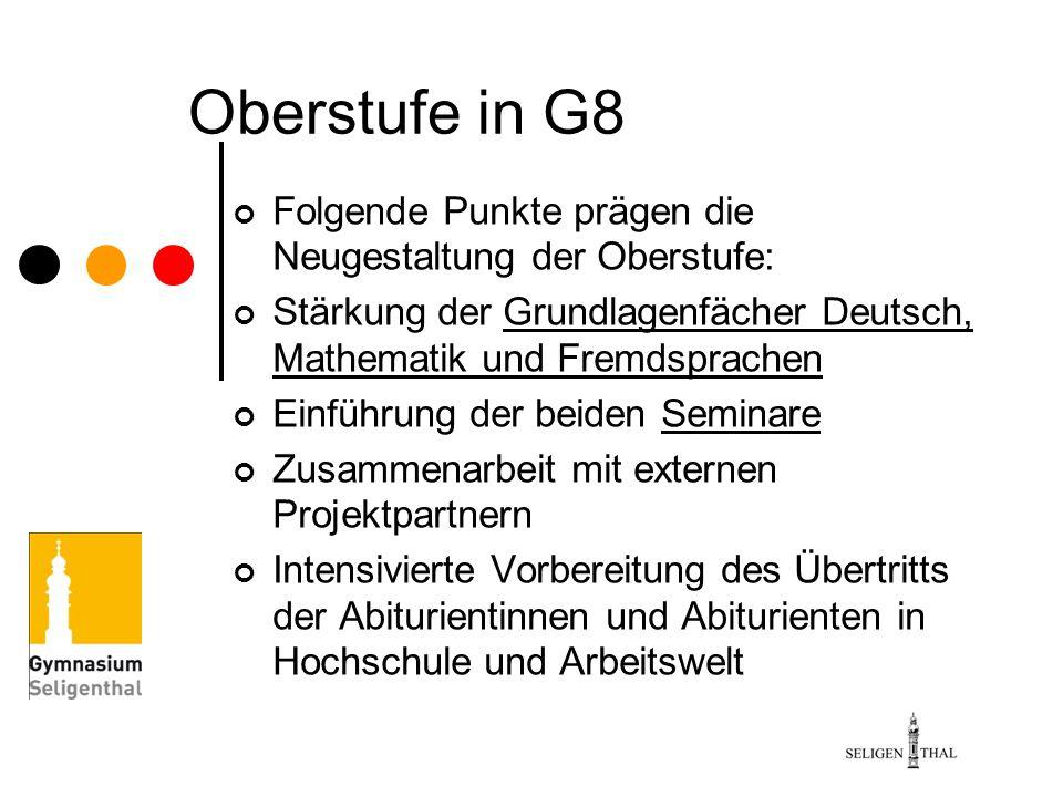 Oberstufe in G8 Folgende Punkte prägen die Neugestaltung der Oberstufe: Stärkung der Grundlagenfächer Deutsch, Mathematik und Fremdsprachen.