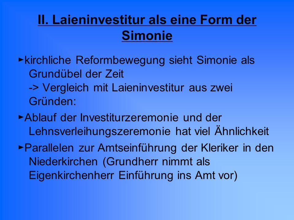 II. Laieninvestitur als eine Form der Simonie