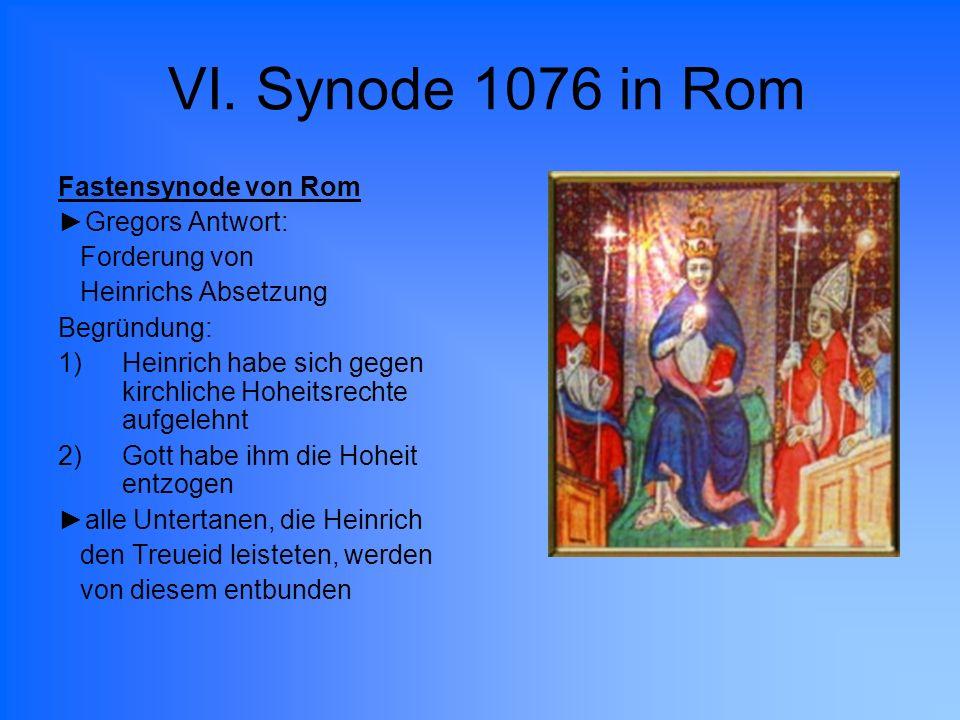VI. Synode 1076 in Rom Fastensynode von Rom ►Gregors Antwort: