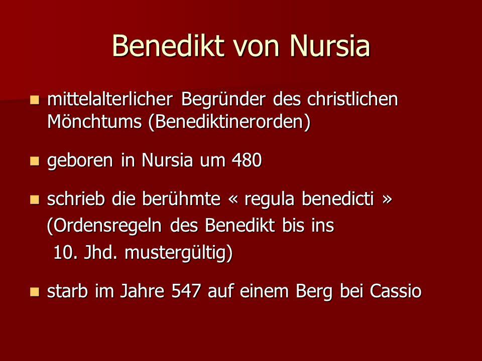 Benedikt von Nursia mittelalterlicher Begründer des christlichen Mönchtums (Benediktinerorden) geboren in Nursia um 480.