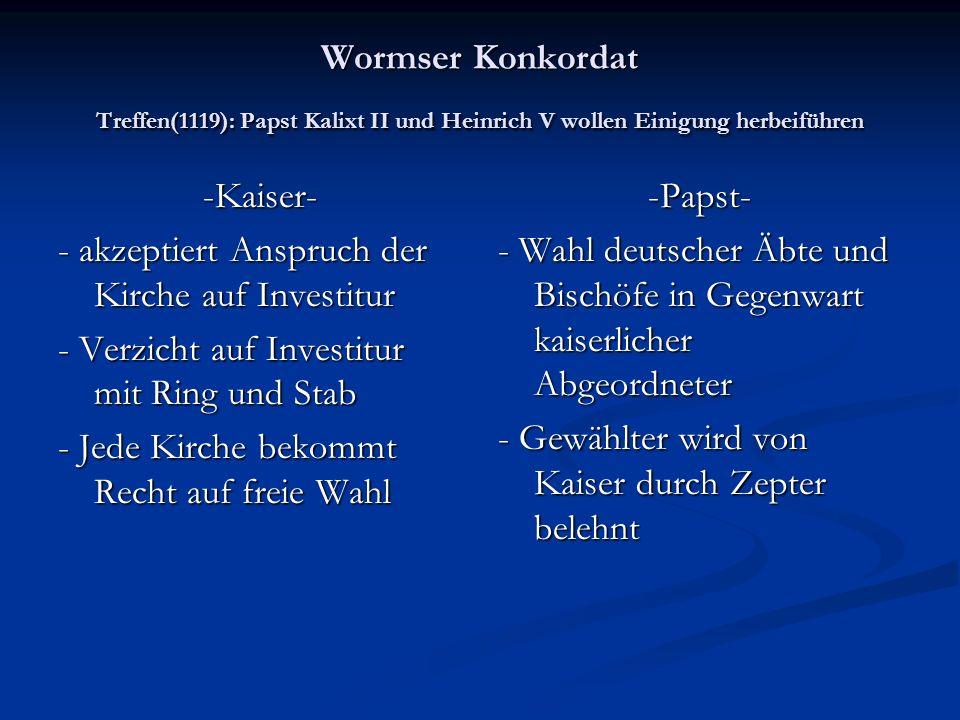 Wormser Konkordat Treffen(1119): Papst Kalixt II und Heinrich V wollen Einigung herbeiführen