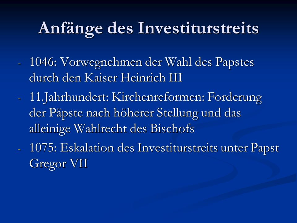 Anfänge des Investiturstreits