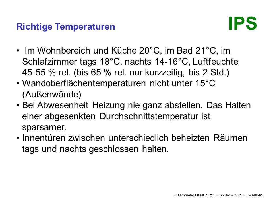 Richtige Temperaturen