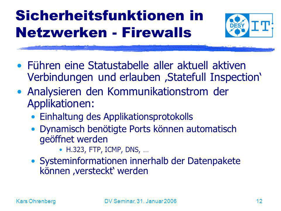 Sicherheitsfunktionen in Netzwerken - Firewalls